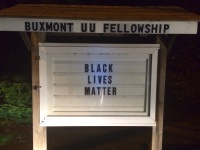 Sign outside the BuxMont Unitarian Universalist Fellowship, Warrington, Pennsylvania